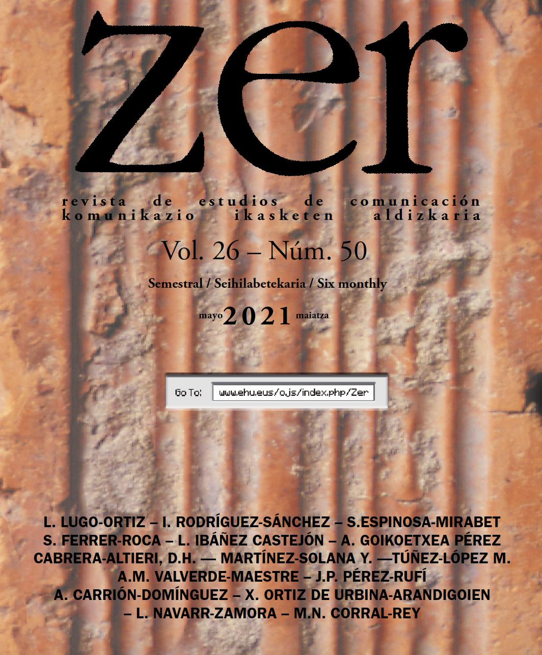 Portada de la revista ZER. Revista de Estudios de Comunicación.  Vol 26 nº 50